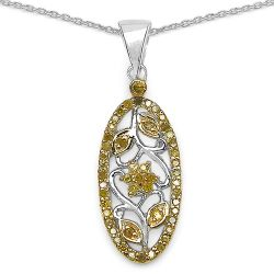 0.27 Carat Genuine Yellow Diamond .925 Sterling Silver Pandent