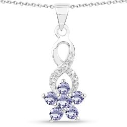 0.74 Carat Genuine Tanzanite & White Topaz .925 Sterling Silver Pendant