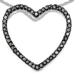 0.54 Carat Genuine Black Diamond Sterling Silver Pendant