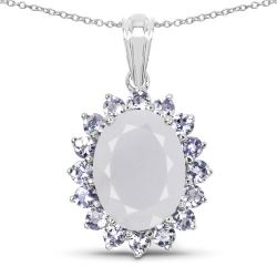 10.00 Carat Genuine Blue Chelcedonia and Tanzanite .925 Sterling Silver Pendant