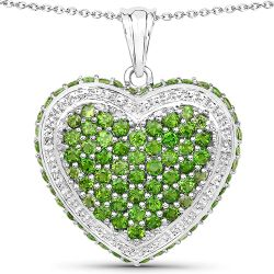 4.62 Carat Genuine Chrome Diopside .925 Sterling Silver Pendant