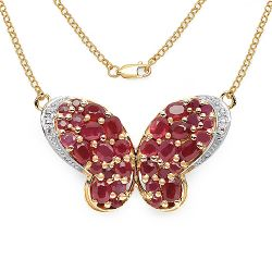 14K Yellow Gold Plated 4.59 Carat Genuine Ruby & White Topaz .925 Streling Silver Pendant