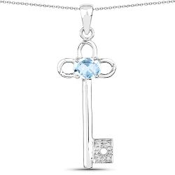 1.32 Carat Genuine Blue Topaz and White Diamond .925 Sterling Silver Pendant