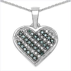 0.25 Carat Genuine Blue Diamond & White Diamond .925 Sterling Silver Pendant