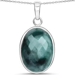 25.10 Carat Genuine Emerald .925 Sterling Silver Pendant