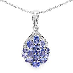 2.08 Carat Genuine Tanzanite & White Diamond .925 Streling Silver Pendant