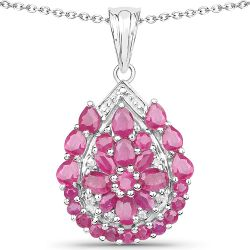 3.50 Carat Genuine Ruby and White Topaz .925 Sterling Silver Pendant