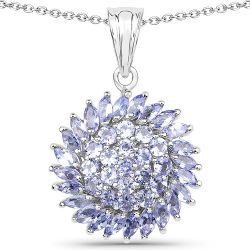 3.25 Carat Genuine Tanzanite .925 Sterling Silver Pendant