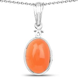 6.00 Carat Genuine Peach Moonstone .925 Sterling Silver Pendant
