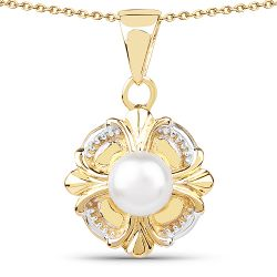 14K Yellow Gold Plated 1.00 Carat Genuine Pearl .925 Sterling Silver Pendant