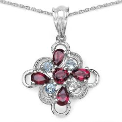 1.70 ct. t.w. Blue Topaz and Rhodolite Pendant in Sterling Silver