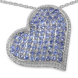 2.98 Carat Genuine Tanzanite .925 Sterling Silver Pendant
