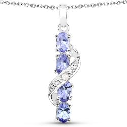 1.02 Carat Genuine Tanzanite and White Diamond .925 Sterling Silver Pendant