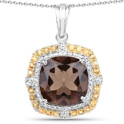 10.98 Carat Genuine Smoky Quartz and Citrine .925 Sterling Silver Pendant