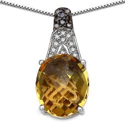 4.50 Carat Genuine Citrine, Champagne Diamond & White Diamond .925 Sterling Silver Pendant