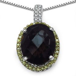 """4.85 Carat Genuine Smoky Quartz, Yellow Diamond & White Diamond .925 Sterling Silver Pendant"""