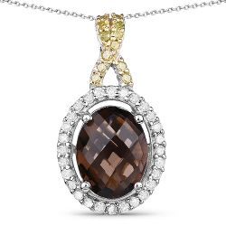 1.79 Carat Genuine Smoky Quartz, Yellow Diamond & White Diamond .925 Sterling Silver Pendant