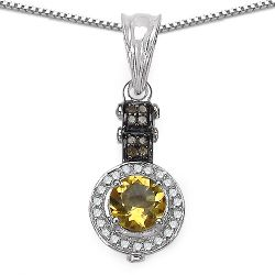 1.00 Carat Genuine Citrine, Champagne Diamond & White Diamond .925 Sterling Silver Pendant