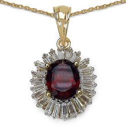 3.82 ct. t.w. Garnet and White Topaz Pendant in Sterling Silver