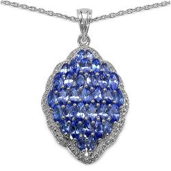 4.06 Carat Genuine Tanzanite .925 Sterling Silver Pendant