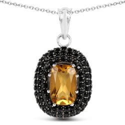 5.85 Carat Genuine Citrine and Black Spinel .925 Sterling Silver Pendant