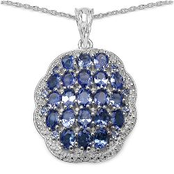 3.80 Carat Genuine Tanzanite Sterling Silver Pendant