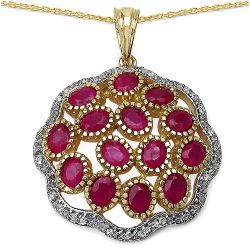 14K Yellow Gold Plated 4.00 Carat Genuine Ruby & White Topaz .925 Streling Silver Pendant