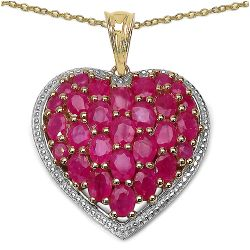 14K Yellow Gold Plated 5.48 Carat Genuine Ruby .925 Streling Silver Pendant