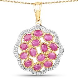14K Yellow Gold Plated 3.08 Carat Genuine Ruby .925 Sterling Silver Pendant