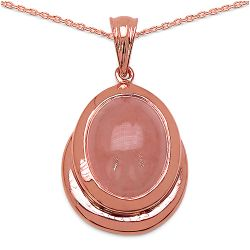 14K Rose Gold Plated 9.70 Carat Genuine Morganite .925 Streling Silver Pendant