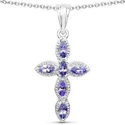 0.84 Carat Genuine Tanzanite .925 Sterling Silver Pendant