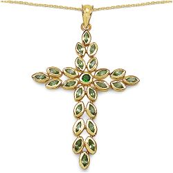 14K Yellow Gold Plated 2.53 Carat Genuine Chrome Diopside & Peridot .925 Streling Silver Pendant