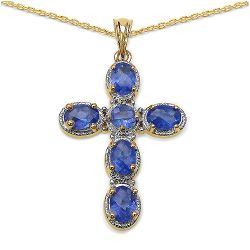 14K Yellow Gold Plated 4.25 Carat Genuine Tanzanite .925 Streling Silver Pendant