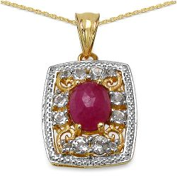 14K Yellow Gold Plated 3.68 Carat Genuine Sapphire & White Topaz .925 Streling Silver Pendant