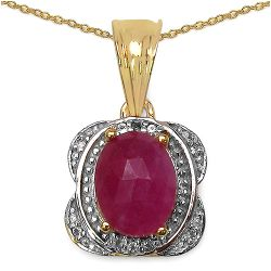 14K Yellow Gold Plated 1.05 Carat Genuine Sapphire & White Topaz .925 Streling Silver Pendant