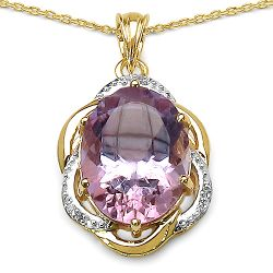 14K Yellow Gold Plated 10.50 Carat Genuine Amethyst & White Topaz .925 Streling Silver Pendant