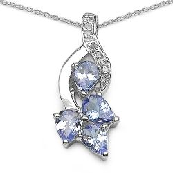 1.14 ct. t.w. Tanzanite and White Topaz Pendant in Sterling Silver