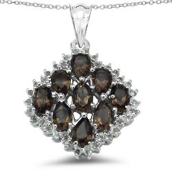 4.40 Carat Genuine Smoky Quartz & White Topaz .925 Sterling Silver Pendant