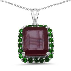 8.00 Carat Genuine Ruby & Chrome Diopside .925 Sterling Silver Pendant