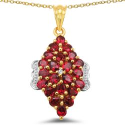 14K Yellow Gold Plated 4.42 Carat Genuine Rhodolite & White Topaz .925 Sterling Silver Pendant