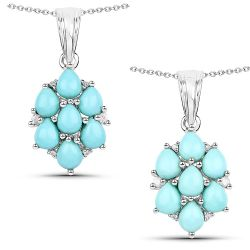 2.16 Carat Genuine Turquoise and White Zircon .925 Sterling Silver Pendant