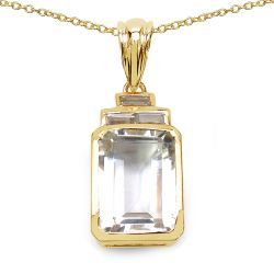 14K Yellow Gold Plated 7.70 Carat Genuine Crystal Quartz & White Topaz .925 Sterling Silver Pendant