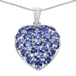 3.96 Carat Genuine Tanzanite .925 Sterling Silver Pendant
