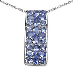 2.52 Carat Genuine Tanzanite .925 Sterling Silver Pendant
