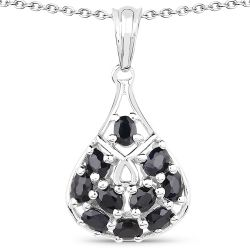2.20 Carat Genuine Glass Filled Sapphire .925 Sterling Silver Pendant