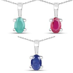 1.46 Carat Genuine Emerald, Glass Filled Ruby & Glass Filled Sapphire .925 Sterling Silver Pendant