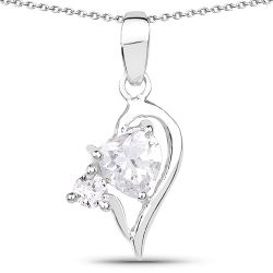 1.60 Carat Genuine White Cubic Zirconia .925 Sterling Silver Pendant