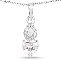 2.57 Carat Genuine White Cubic Zirconia .925 Sterling Silver Pendant