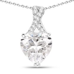 4.45 Carat Genuine White Cubic Zirconia .925 Sterling Silver Pendant