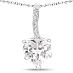 4.46 Carat Genuine White Cubic Zirconia .925 Sterling Silver Pendant